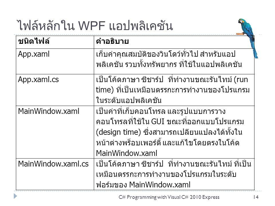 ไฟล์หลักใน WPF แอปพลิเคชัน ชนิดไฟล์คำอธิบาย App.xaml เก็บค่าคุณสมบัติของวินโดว์ทั่วไป สำหรับแอป พลิเคชัน รวบทั้งทรัพยากร ที่ใช้ในแอปพลิเคชัน App.xaml.