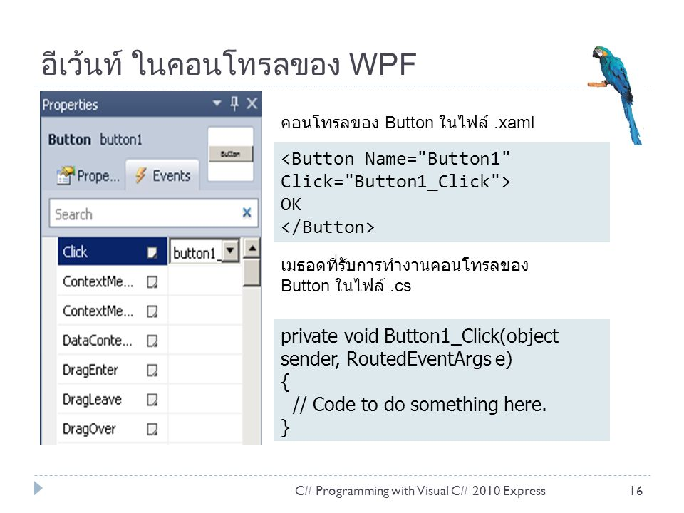 อีเว้นท์ ในคอนโทรลของ WPF C# Programming with Visual C# 2010 Express16 OK private void Button1_Click(object sender, RoutedEventArgs e) { // Code to do