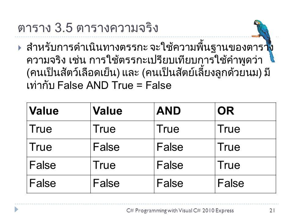 ตาราง 3.5 ตารางความจริง  สำหรับการดำเนินทางตรรกะ จะใช้ความพื้นฐานของตาราง ความจริง เช่น การใช้ตรรกะเปรียบเทียบการใช้คำพูดว่า (คนเป็นสัตว์เลือดเย็น) และ (คนเป็นสัตย์เลี้ยงลูกด้วยนม) มี เท่ากับ False AND True = False C# Programming with Visual C# 2010 Express21 Value ANDOR True False True FalseTrueFalseTrue False