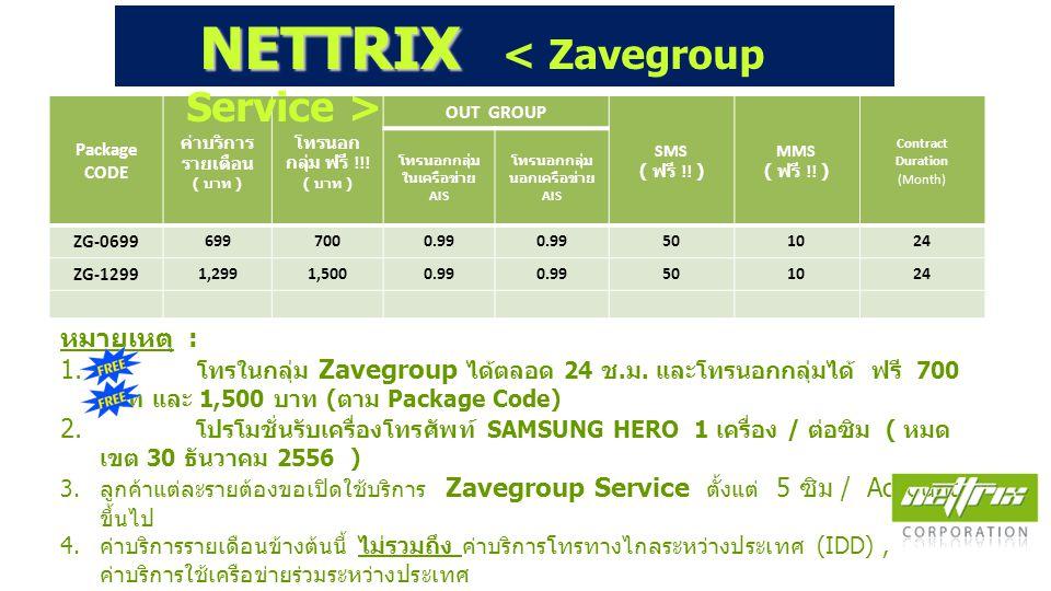 หมายเหตุ : 1. โทรในกลุ่ม Zavegroup ได้ตลอด 24 ช. ม. และโทรนอกกลุ่มได้ ฟรี 700 บาท และ 1,500 บาท ( ตาม Package Code) 2. โปรโมชั่นรับเครื่องโทรศัพท์ SAM