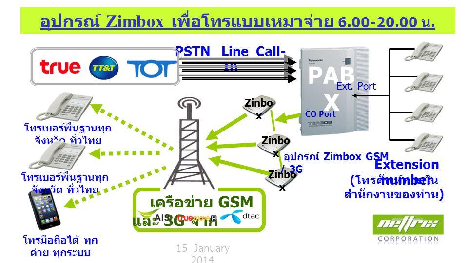PAB X ZIP Getaway GSM / 3G Gateway การต่อพ่วงโทรศัพท์ผ่านอุปกรณ์ Zavetrue Service ตัด 9 เพื่อโทรออก ตามปกติ PSTN Line Call-In Zavetrue for Lines Call-Out PSTN Line Call-In 15 January 2014