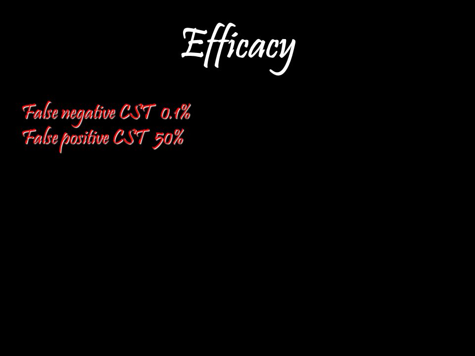 Efficacy False negative CST 0.1% False positive CST 50%