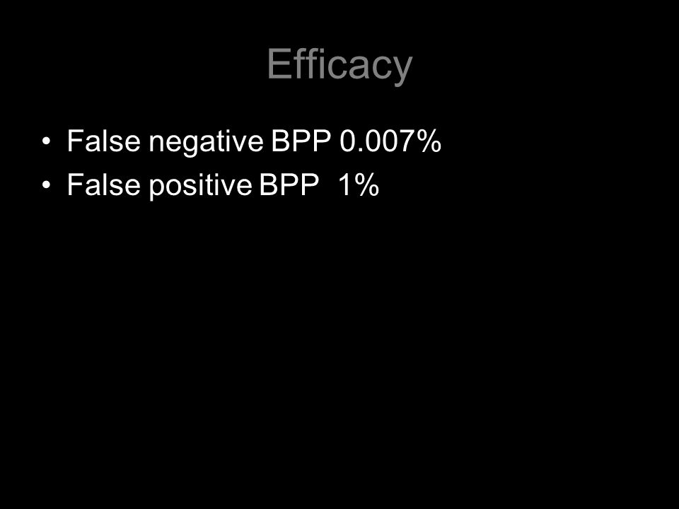 Efficacy False negative BPP 0.007% False positive BPP 1%
