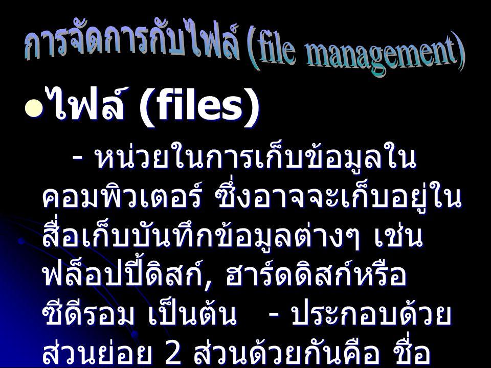 ไฟล์ (files) ไฟล์ (files) - หน่วยในการเก็บข้อมูลใน คอมพิวเตอร์ ซึ่งอาจจะเก็บอยู่ใน สื่อเก็บบันทึกข้อมูลต่างๆ เช่น ฟล็อปปี้ดิสก์, ฮาร์ดดิสก์หรือ ซีดีรอ