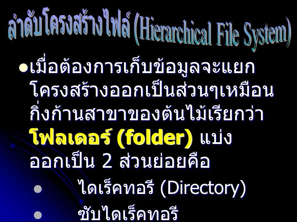 เมื่อต้องการเก็บข้อมูลจะแยก โครงสร้างออกเป็นส่วนๆเหมือน กิ่งก้านสาขาของต้นไม้เรียกว่า โฟลเดอร์ (folder) แบ่ง ออกเป็น 2 ส่วนย่อยคือ เมื่อต้องการเก็บข้อ