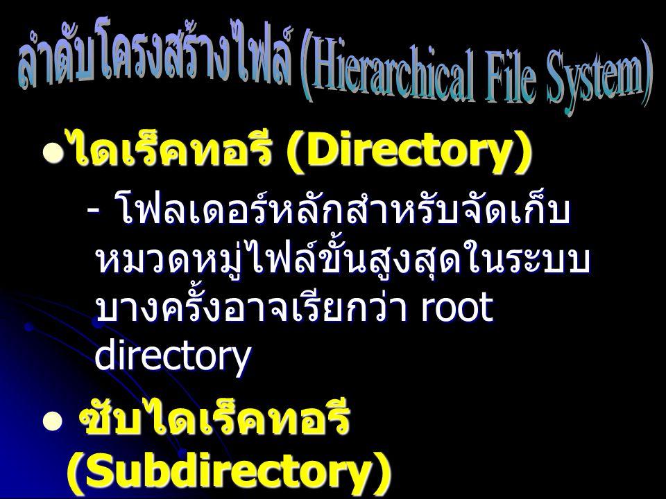 ไดเร็คทอรี (Directory) ไดเร็คทอรี (Directory) - โฟลเดอร์หลักสำหรับจัดเก็บ หมวดหมู่ไฟล์ขั้นสูงสุดในระบบ บางครั้งอาจเรียกว่า root directory - โฟลเดอร์หล