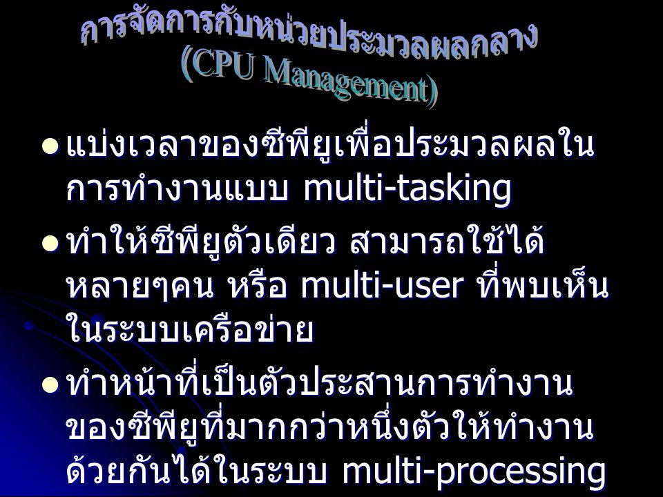 แบ่งเวลาของซีพียูเพื่อประมวลผลใน การทำงานแบบ multi-tasking แบ่งเวลาของซีพียูเพื่อประมวลผลใน การทำงานแบบ multi-tasking ทำให้ซีพียูตัวเดียว สามารถใช้ได้