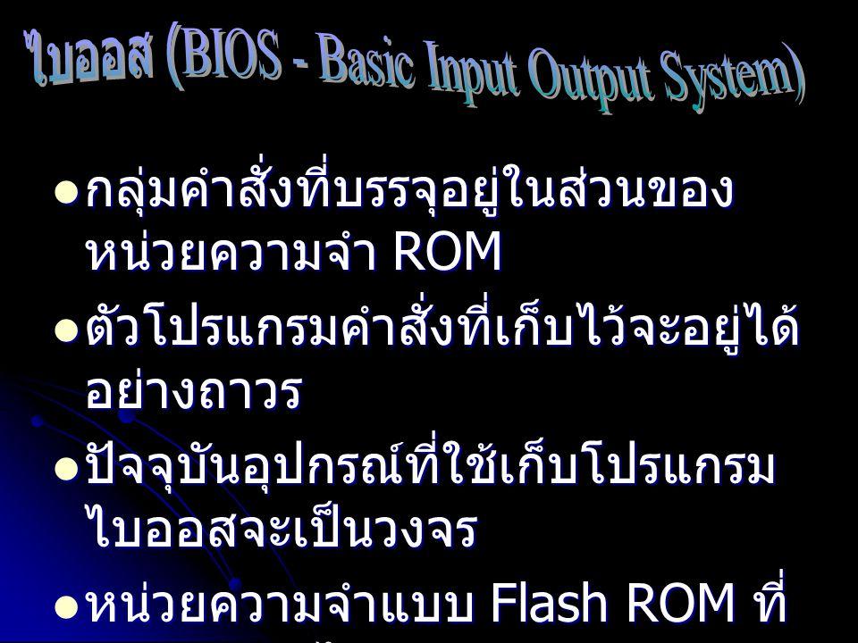 กลุ่มคำสั่งที่บรรจุอยู่ในส่วนของ หน่วยความจำ ROM กลุ่มคำสั่งที่บรรจุอยู่ในส่วนของ หน่วยความจำ ROM ตัวโปรแกรมคำสั่งที่เก็บไว้จะอยู่ได้ อย่างถาวร ตัวโปร