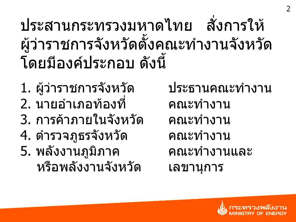2 ประสานกระทรวงมหาดไทย สั่งการให้ ผู้ว่าราชการจังหวัดตั้งคณะทำงานจังหวัด โดยมีองค์ประกอบ ดังนี้ 1. ผู้ว่าราชการจังหวัดประธานคณะทำงาน 2. นายอำเภอท้องที