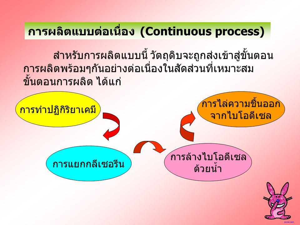 การผลิตแบบต่อเนื่อง (Continuous process) สำหรับการผลิตแบบนี้ วัตถุดิบจะถูกส่งเข้าสู่ขั้นตอน การผลิตพร้อมๆกันอย่างต่อเนื่องในสัดส่วนที่เหมาะสม ขั้นตอนก