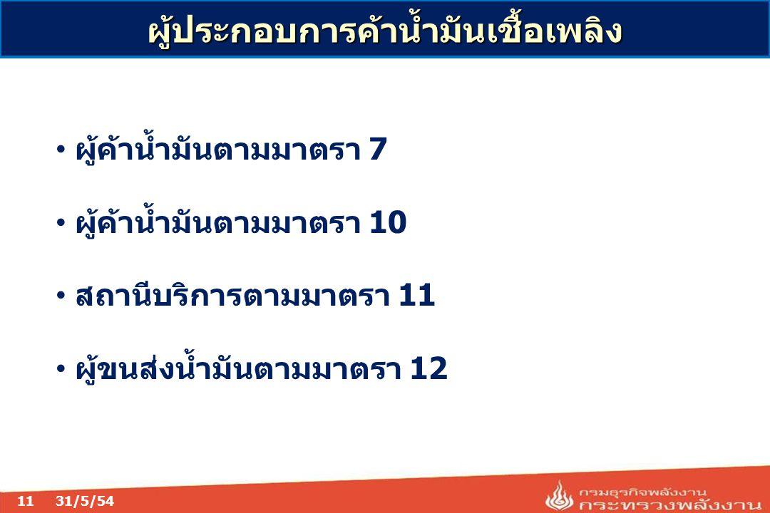 11 ผู้ประกอบการค้าน้ำมันเชื้อเพลิง 31/5/54 ผู้ค้าน้ำมันตามมาตรา 7 ผู้ค้าน้ำมันตามมาตรา 10 สถานีบริการตามมาตรา 11 ผู้ขนส่งน้ำมันตามมาตรา 12