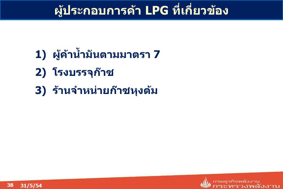 31/5/54 38 1) ผู้ค้าน้ำมันตามมาตรา 7 2) โรงบรรจุก๊าซ 3) ร้านจำหน่ายก๊าซหุงต้ม ผู้ประกอบการค้า LPG ที่เกี่ยวข้อง