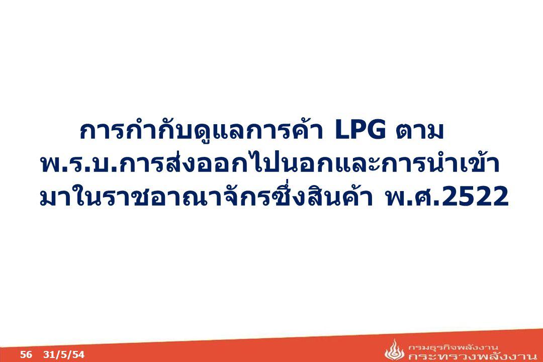 การกำกับดูแลการค้า LPG ตาม พ.ร.บ.การส่งออกไปนอกและการนำเข้า มาในราชอาณาจักรซึ่งสินค้า พ.ศ.2522 5631/5/54