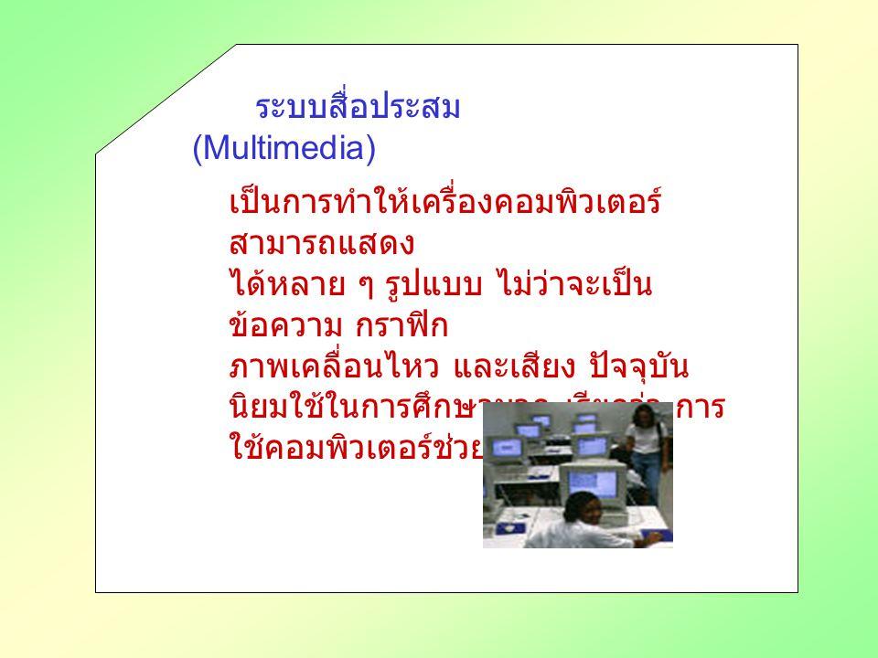 ระบบสื่อประสม (Multimedia) เป็นการทำให้เครื่องคอมพิวเตอร์ สามารถแสดง ได้หลาย ๆ รูปแบบ ไม่ว่าจะเป็น ข้อความ กราฟิก ภาพเคลื่อนไหว และเสียง ปัจจุบัน นิยมใช้ในการศึกษามาก เรียกว่า การ ใช้คอมพิวเตอร์ช่วยสอน (CAI)