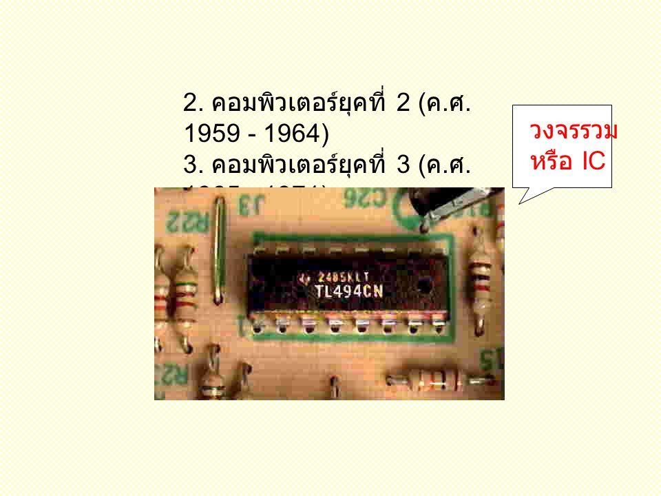 2.คอมพิวเตอร์ยุคที่ 2 ( ค. ศ. 1959 - 1964) 3. คอมพิวเตอร์ยุคที่ 3 ( ค.