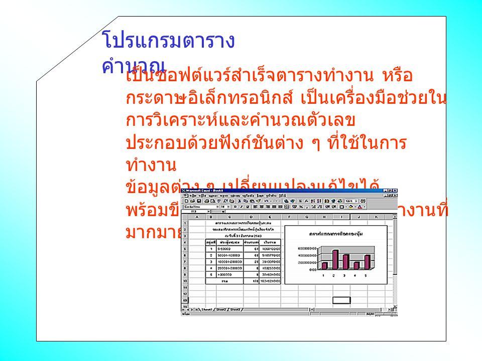 โปรแกรมตาราง คำนวณ เป็นซอฟต์แวร์สำเร็จตารางทำงาน หรือ กระดาษอิเล็กทรอนิกส์ เป็นเครื่องมือช่วยใน การวิเคราะห์และคำนวณตัวเลข ประกอบด้วยฟังก์ชันต่าง ๆ ที่ใช้ในการ ทำงาน ข้อมูลต่าง ๆ เปลี่ยนแปลงแก้ไขได้ พร้อมขีดความสามารถพิเศษในการทำงานที่ มากมาย