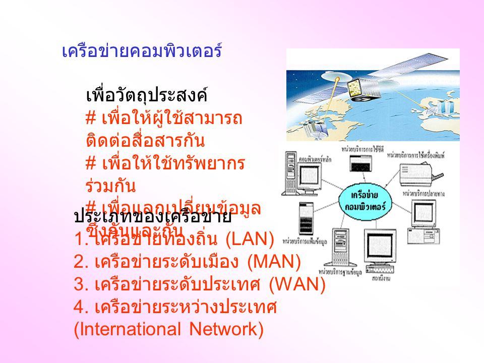 รูปแบบเชื่อมต่อเครือข่าย นิยมใช้กันมี 4 ลักษณะ ได้แก่ 1. แบบ ดาว 2. แบบวง แหวน 3. แบบบัส 4. แบบ ผสม