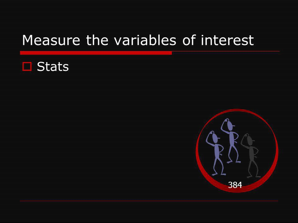 Measure the variables of interest 384  Stats