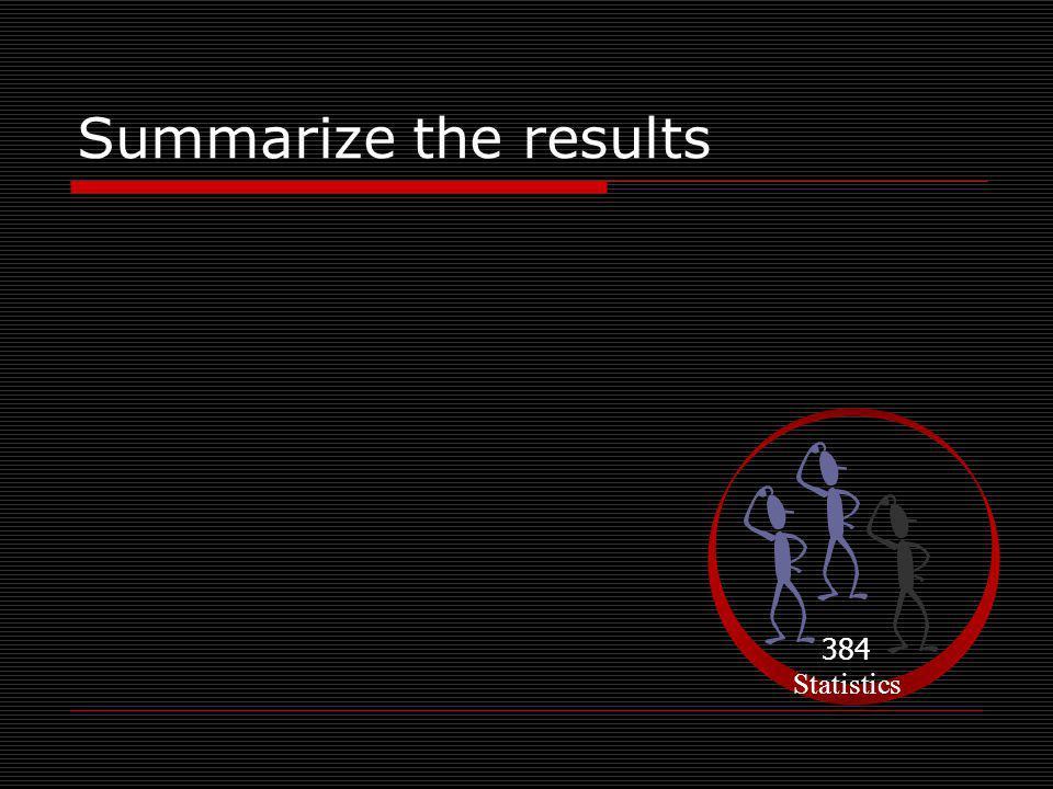 Summarize the results 384 Statistics