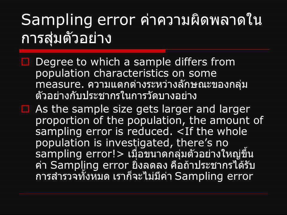 Sampling error ค่าความผิดพลาดใน การสุ่มตัวอย่าง  Degree to which a sample differs from population characteristics on some measure. ความแตกต่างระหว่าง