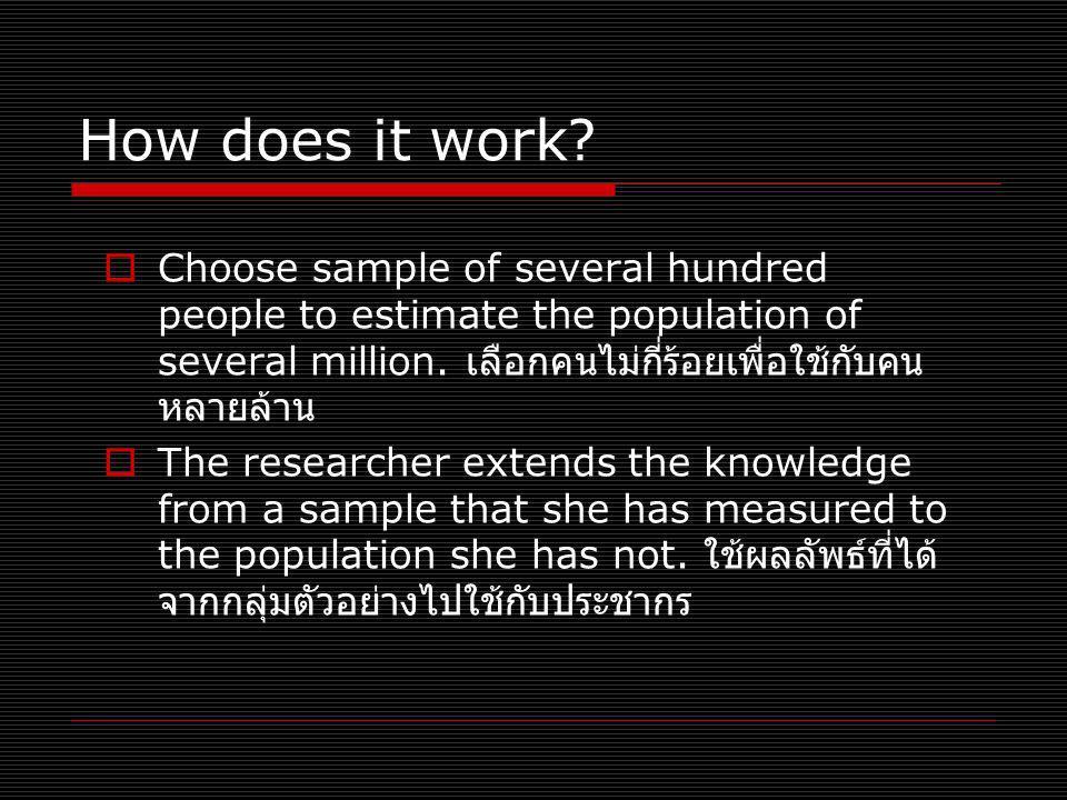 How does it work?  Choose sample of several hundred people to estimate the population of several million. เลือกคนไม่กี่ร้อยเพื่อใช้กับคน หลายล้าน  T
