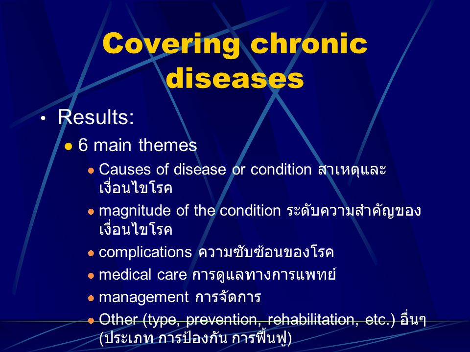 Covering chronic diseases Results: 6 main themes Causes of disease or condition สาเหตุและ เงื่อนไขโรค magnitude of the condition ระดับความสำคัญของ เงื
