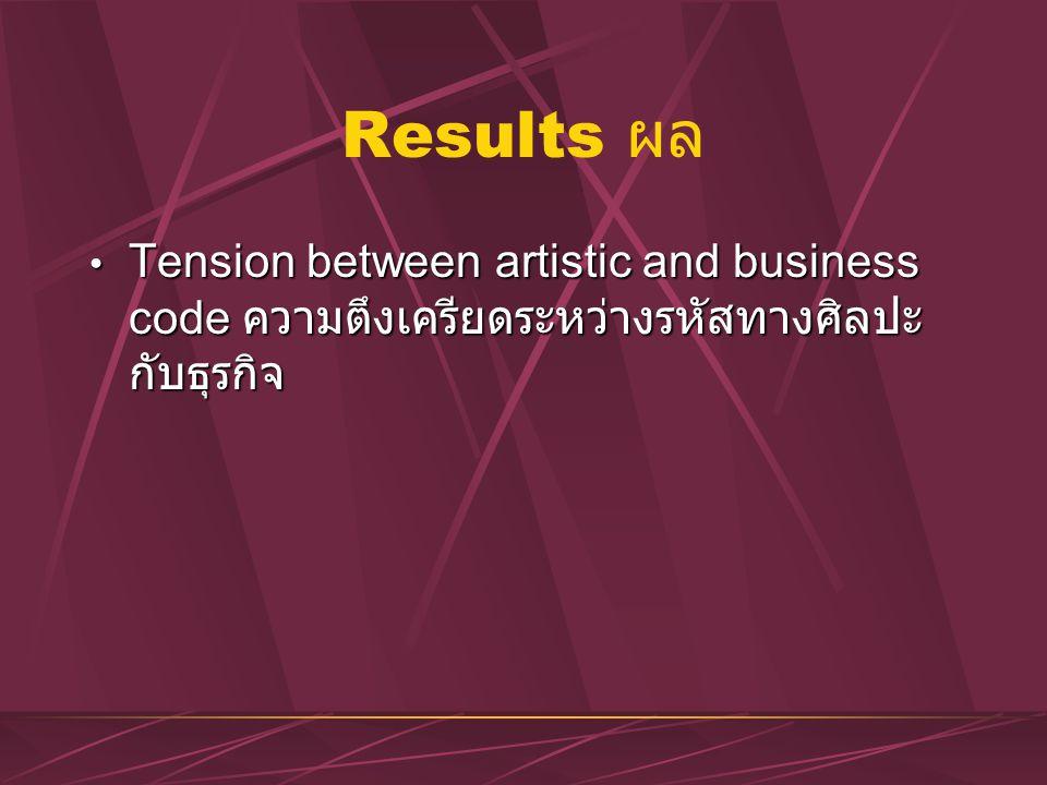 Results ผล Tension between artistic and business code ความตึงเครียดระหว่างรหัสทางศิลปะ กับธุรกิจ Tension between artistic and business code ความตึงเคร