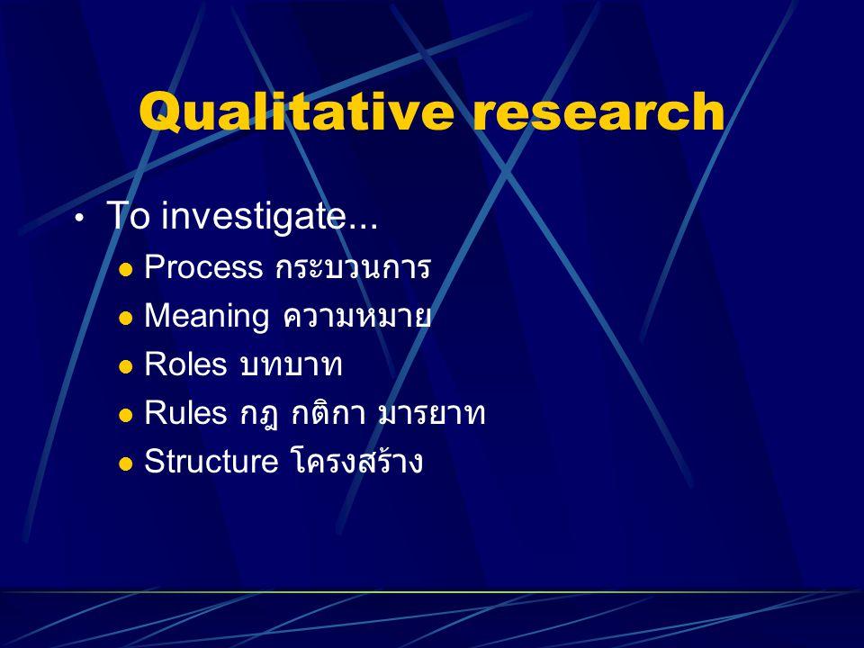Qualitative research To investigate... Process กระบวนการ Meaning ความหมาย Roles บทบาท Rules กฎ กติกา มารยาท Structure โครงสร้าง