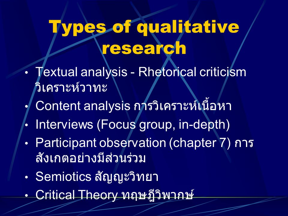 Types of qualitative research Textual analysis - Rhetorical criticism วิเคราะห์วาทะ Content analysis การวิเคราะห์เนื้อหา Interviews (Focus group, in-d