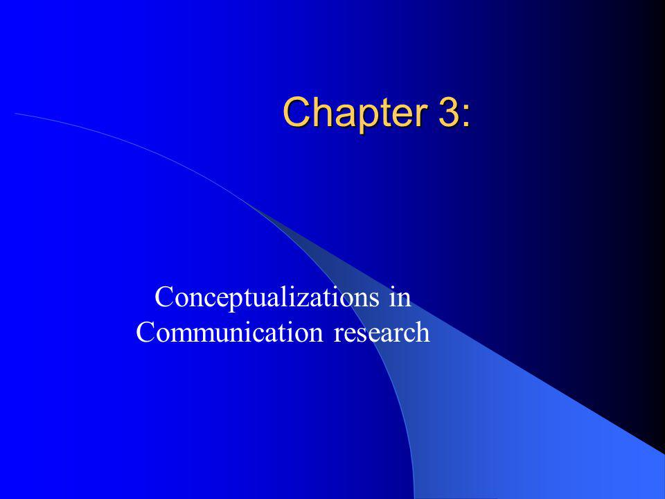 Chapter 3: Conceptualizations in Communication research
