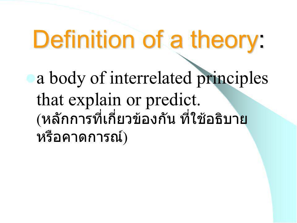 Components of theory ( องค์ประกอบ ) Logical structure of relationships (if p --> q) ( โครงสร้างของ ความสัมพันธ์ที่เป็นเหตุเป็นผลกัน )