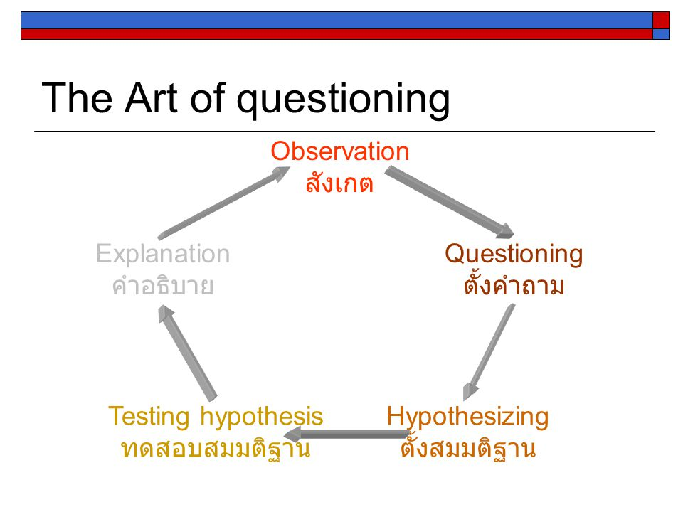 The Art of questioning Observation สังเกต Questioning ตั้งคำถาม Testing hypothesis ทดสอบสมมติฐาน Explanation คำอธิบาย Hypothesizing ตั้งสมมติฐาน