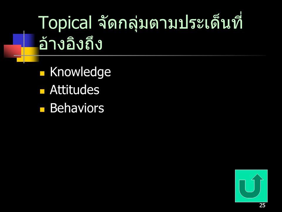 25 Topical จัดกลุ่มตามประเด็นที่ อ้างอิงถึง Knowledge Attitudes Behaviors