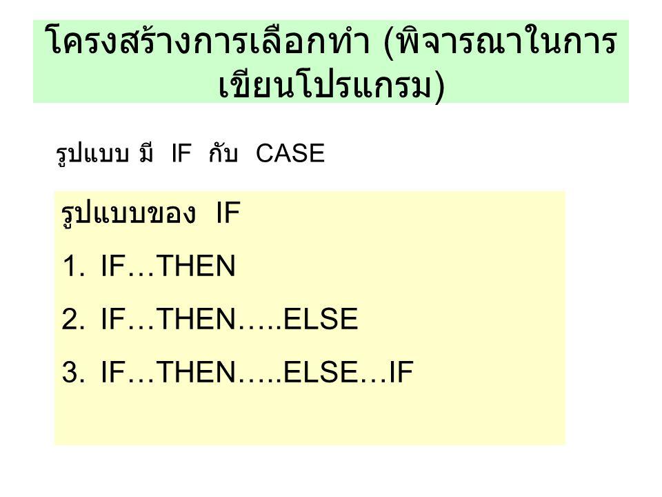 โครงสร้างการเลือกทำ ( พิจารณาในการ เขียนโปรแกรม ) รูปแบบ มี IF กับ CASE รูปแบบของ IF 1.IF…THEN 2.IF…THEN…..ELSE 3.IF…THEN…..ELSE…IF