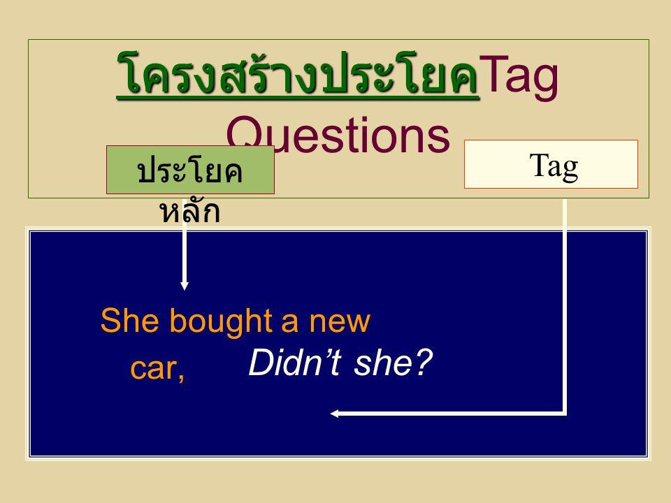 She bought a new car, Didn't she? โครงสร้างประโยค โครงสร้างประโยค Tag Questions ประโยค หลัก Tag