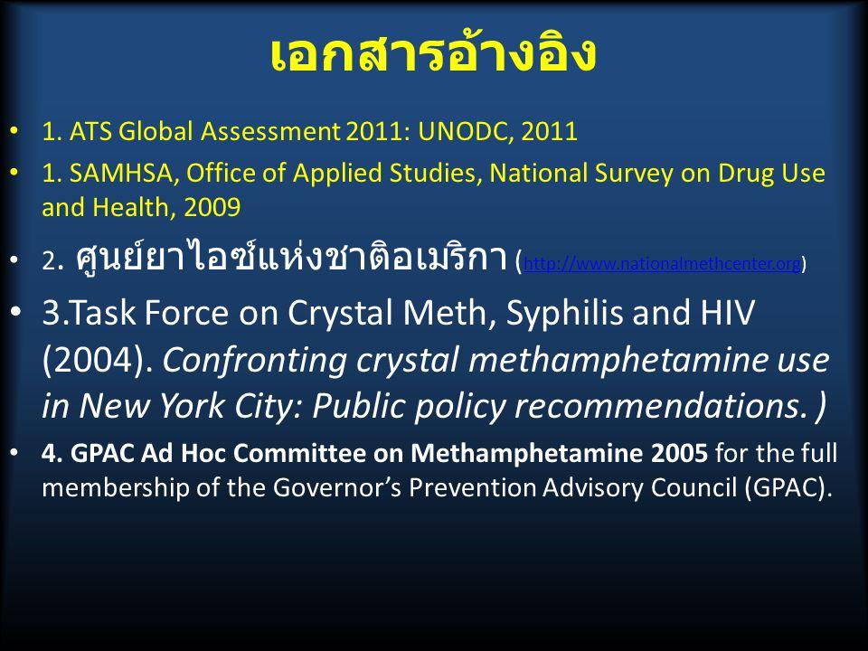 เอกสารอ้างอิง 1.ATS Global Assessment 2011: UNODC, 2011 1.