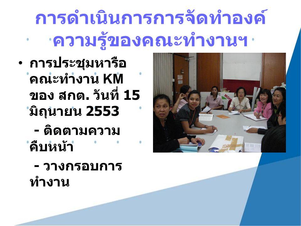 การดำเนินการการจัดทำองค์ ความรู้ของคณะทำงานฯ การประชุมหารือ คณะทำงาน KM ของ สกต. วันที่ 15 มิถุนายน 2553 - ติดตามความ คืบหน้า - วางกรอบการ ทำงาน