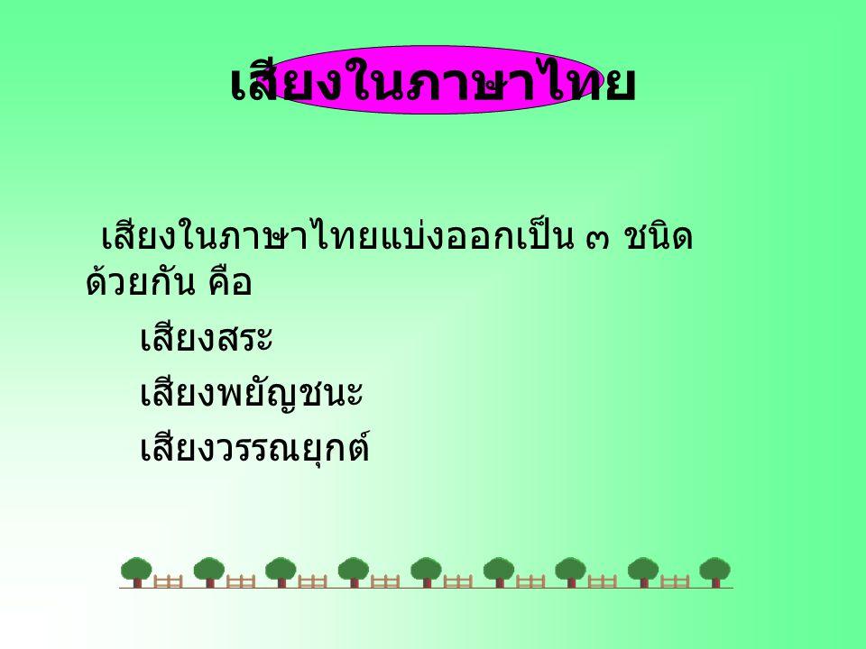 เสียงในภาษาไทย เสียงในภาษาไทยแบ่งออกเป็น ๓ ชนิด ด้วยกัน คือ เสียงสระ เสียงพยัญชนะ เสียงวรรณยุกต์