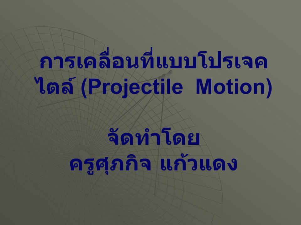การเคลื่อนที่แบบโปรเจคไตล์ (Projectile Motion) การเคลื่อนที่แบบโปรเจคไตล์ประกอบด้วยการ เคลื่อนที่ 2 แนวพร้อมกัน คือแนวระดับและแนวดิ่ง ซึ่งพบว่าความเร็วต้นทางแนวระดับ ไม่มีผลต่อการ เคลื่อนที่ในแนวดิ่ง โดยดูได้จากการตกของวัตถุที่ ปล่อยและวัตถุที่ถูกดีด ถ้าดีดแรงตกไกล ดีดเบา ตกใกล้ แต่จะตกถึงพื้นพร้อมกับวัตถุที่ปล่อยให้ตก ในแนวดิ่ง ณ จุดเริ่มต้น - เดียวกัน แสดงว่า การ เคลื่อนที่ในแนวระดับไม่มีผลต่อการเคลื่อนที่ใน แนวดิ่ง ดังนั้น จึงแยกคิดการเคลื่อนที่เป็นอิสระต่อ กัน 2 แนว uxux vxvx vyvy v