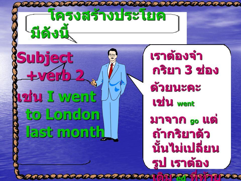 โครงสร้างประโยค มีดังนี้ โครงสร้างประโยค มีดังนี้ Subject +verb 2 เช่น I went to London last month. เราต้องจำ กริยา 3 ช่อง เราต้องจำ กริยา 3 ช่อง ด้วย
