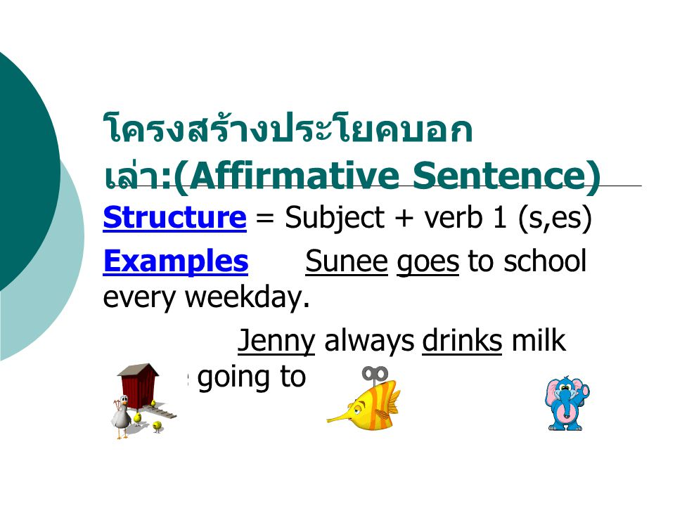 Structure = Subject + verb 1 (s,es) ExamplesSunee goes to school every weekday. Jenny always drinks milk before going to bed. โครงสร้างประโยคบอก เล่า
