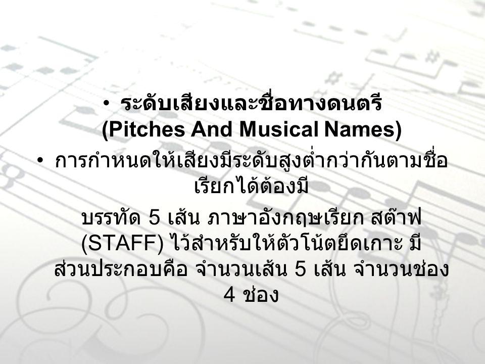 ระดับเสียงและชื่อทางดนตรี (Pitches And Musical Names) การกำหนดให้เสียงมีระดับสูงต่ำกว่ากันตามชื่อ เรียกได้ต้องมี บรรทัด 5 เส้น ภาษาอังกฤษเรียก สต๊าฟ (STAFF) ไว้สำหรับให้ตัวโน้ตยึดเกาะ มี ส่วนประกอบคือ จำนวนเส้น 5 เส้น จำนวนช่อง 4 ช่อง
