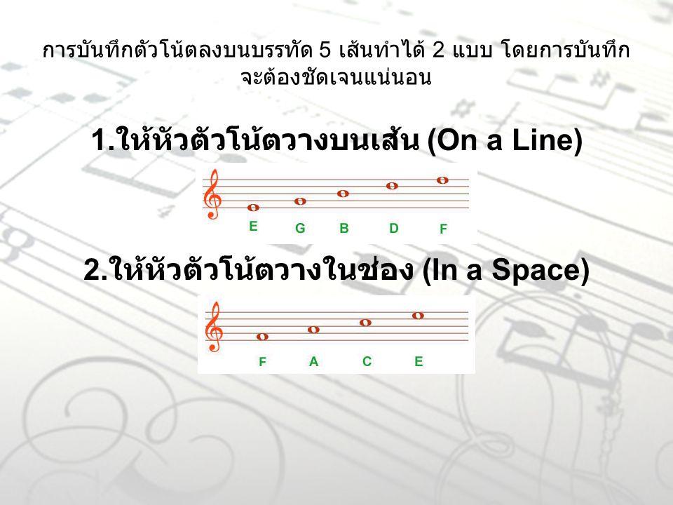 การบันทึกตัวโน้ตลงบนบรรทัด 5 เส้นทำได้ 2 แบบ โดยการบันทึก จะต้องชัดเจนแน่นอน 1. ให้หัวตัวโน้ตวางบนเส้น (On a Line) 2. ให้หัวตัวโน้ตวางในช่อง (In a Spa
