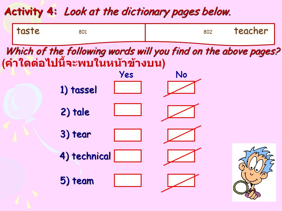 taste taste 801 teacher 802 teacher Activity 4: Look at the dictionary pages below. Which of the following words will you find on the above pages? Whi
