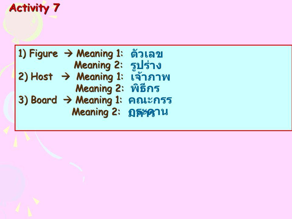 1)Figure  Meaning 1: Meaning 2: Meaning 2: 2) Host  Meaning 1: Meaning 2: Meaning 2: 3) Board  Meaning 1: Meaning 2: Meaning 2: Activity 7 ตัวเลข ร