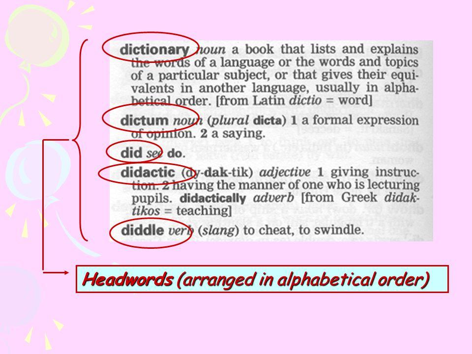 Headwords (arranged in alphabetical order)