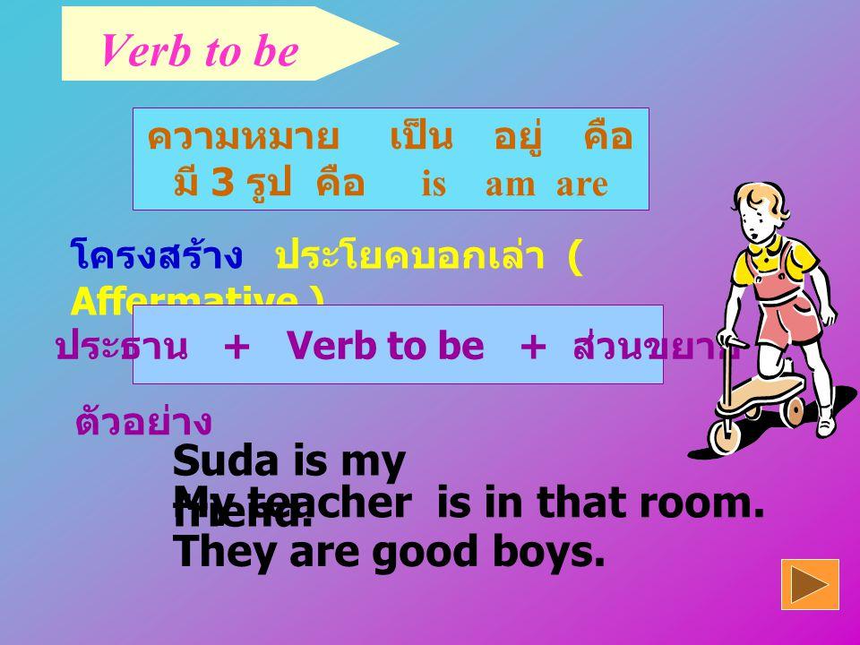 จุดประสงค์ 1.บอกรูป Form ของ Verb Verb to be ได้ 2.