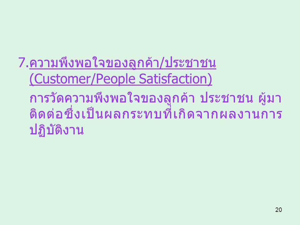 20 7.ความพึงพอใจของลูกค้า/ประชาชน (Customer/People Satisfaction) การวัดความพึงพอใจของลูกค้า ประชาชน ผู้มา ติดต่อซึ่งเป็นผลกระทบที่เกิดจากผลงานการ ปฏิบ