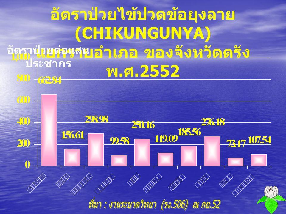 จำนวนผู้ป่วยไข้ปวดข้อยุงลาย (CHIKUNGUNYA) จำแนกรายเดือน ของจังหวัดตรัง พ. ศ.2552 จำนวน ( คน )