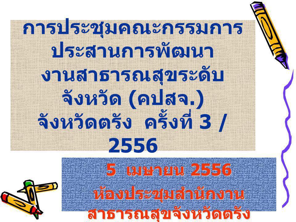 การประชุมคณะกรรมการ ประสานการพัฒนา งานสาธารณสุขระดับ จังหวัด ( คปสจ.) จังหวัดตรัง ครั้งที่ 3 / 2556 5 เมษายน 2556 ห้องประชุมสำนักงาน สาธารณสุขจังหวัดตรัง